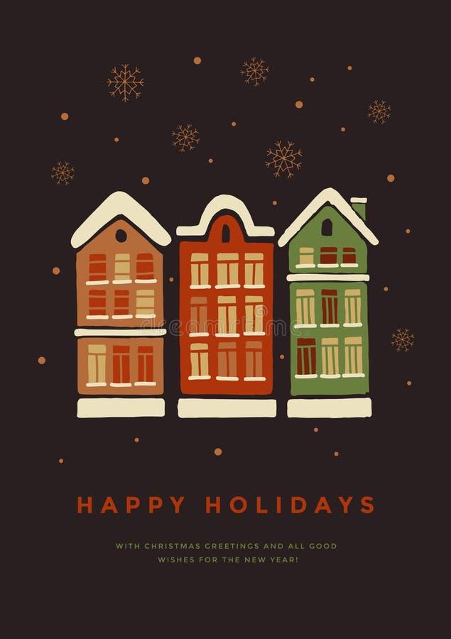 Kerstman Klaus, hemel, vorst, zak Huizen in de Sneeuw stock illustratie