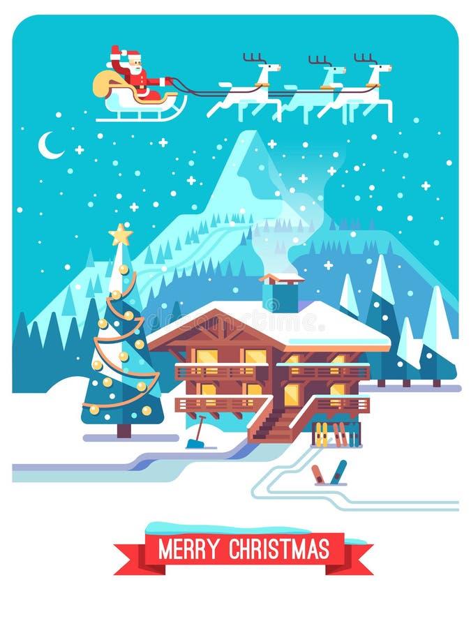 Kerstman Klaus, hemel, vorst, zak Nacht in dorp Berg gedetailleerd landschap met loge Vector vlakke illustratie stock illustratie