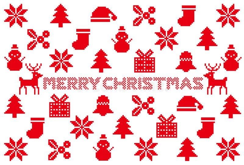 Kerstman Klaus, hemel, vorst, zak noordse patroonpictogrammen stock illustratie