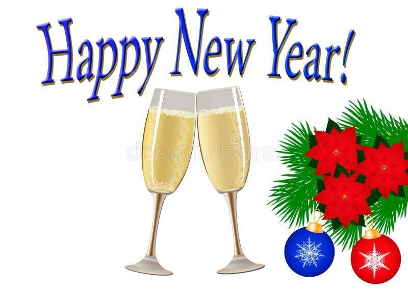 Kerstman Klaus, hemel, vorst, zak Twee glazen champagne, een boomtak met Chr vector illustratie