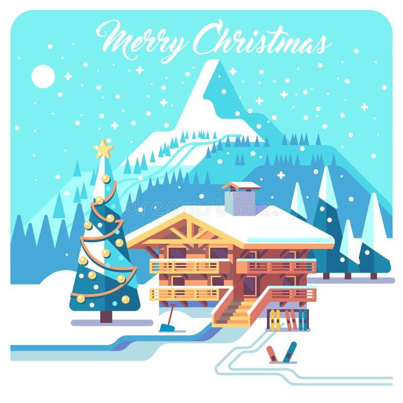 Kerstman Klaus, hemel, vorst, zak Vakantie in dorp Berg gedetailleerd landschap met loge Vector vlakke illustratie royalty-vrije illustratie