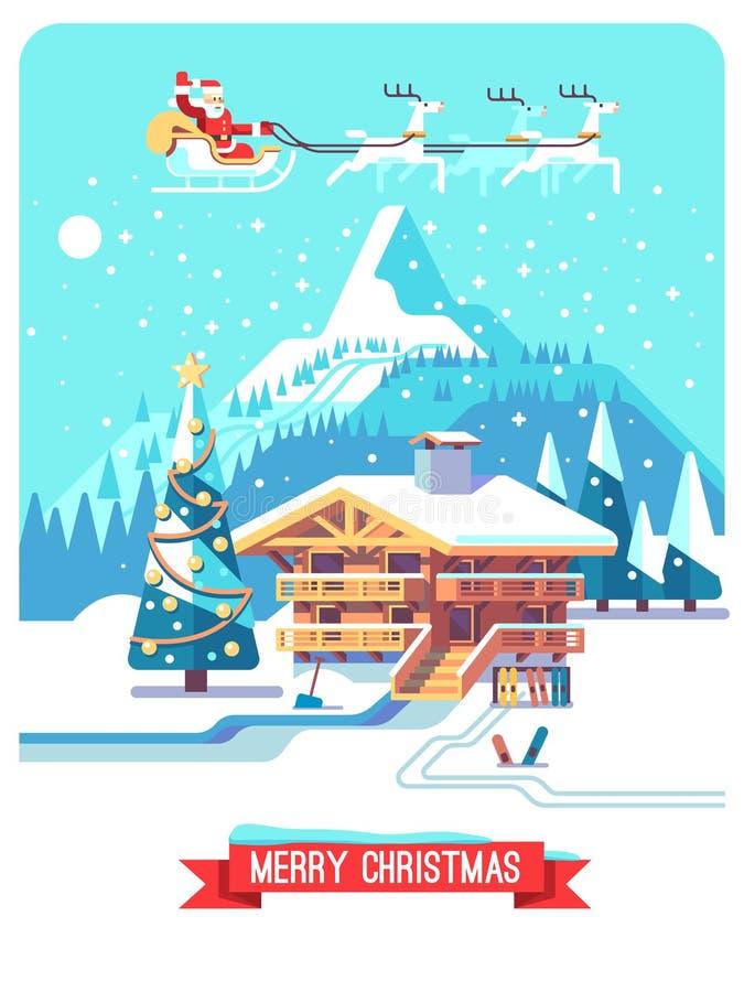 Kerstman Klaus, hemel, vorst, zak Vakantie in dorp Berg gedetailleerd landschap met loge Vector vlakke illustratie stock illustratie