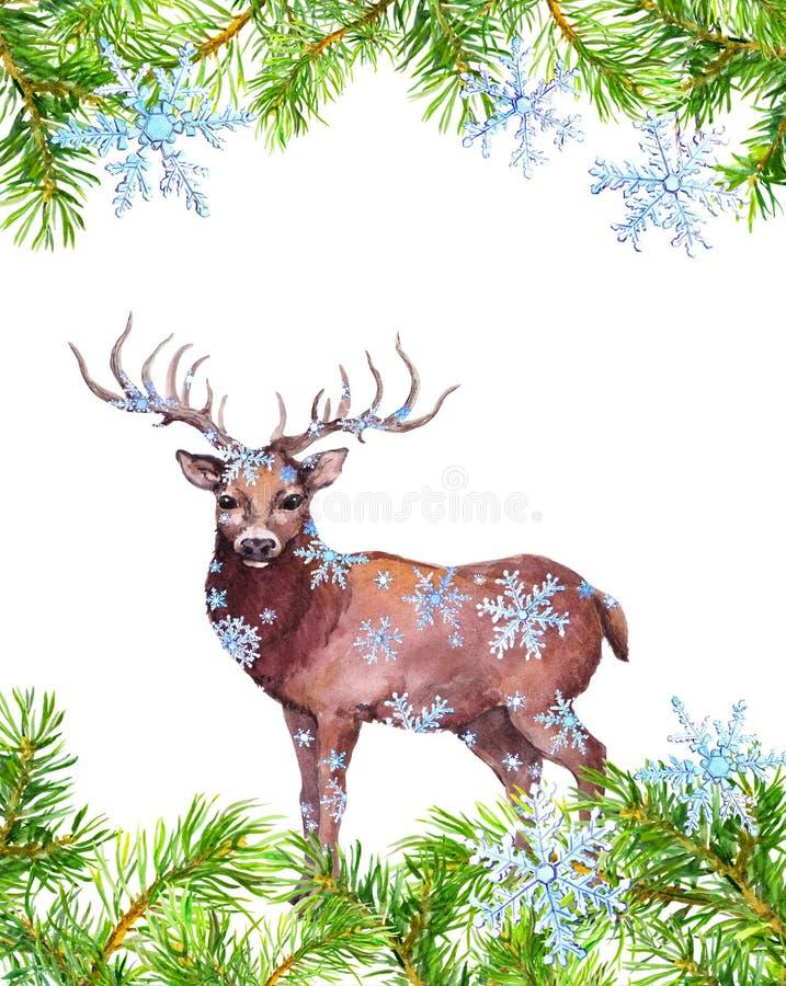 Kerstman Klaus, hemel, vorst, zak watercolor stock illustratie