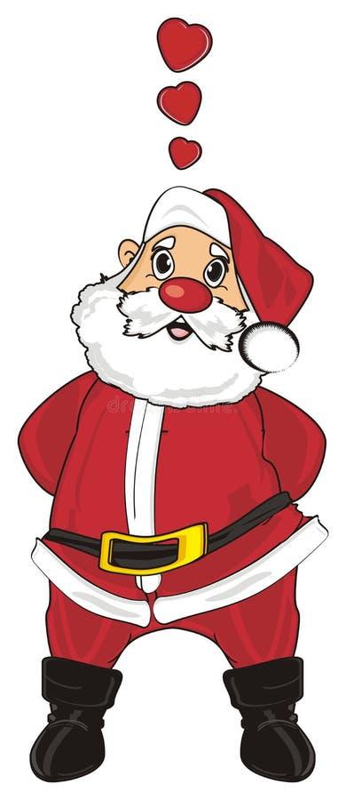 Kerstman in liefde stock illustratie