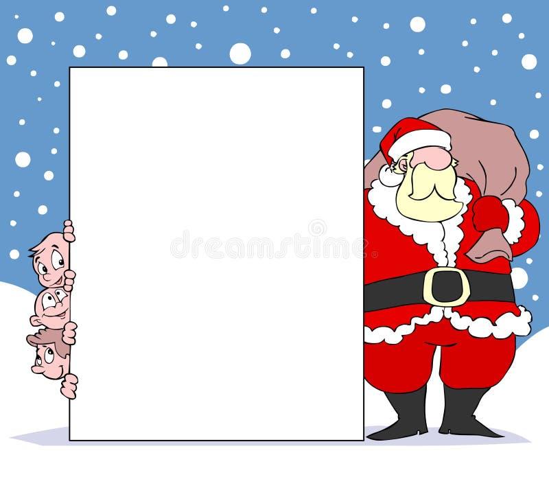 Kerstman met banner en jonge geitjes royalty-vrije illustratie
