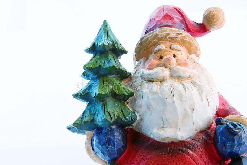 Kerstman met bont-boom royalty-vrije stock foto's