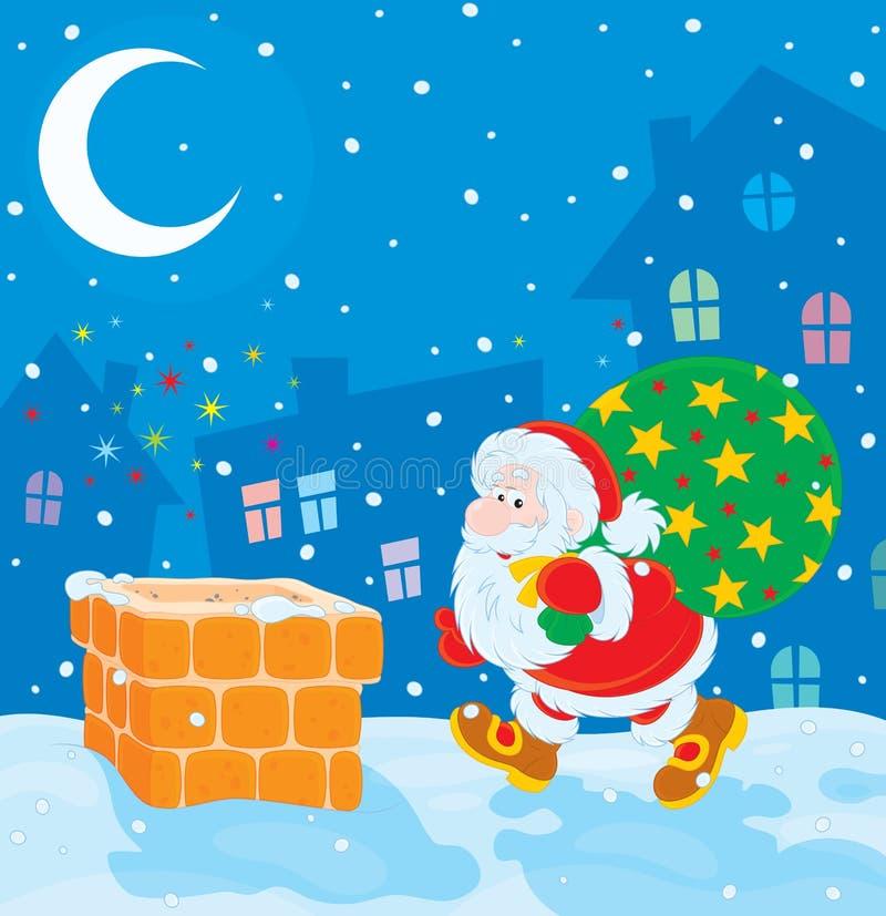 Kerstman met de giften van Kerstmis stock illustratie