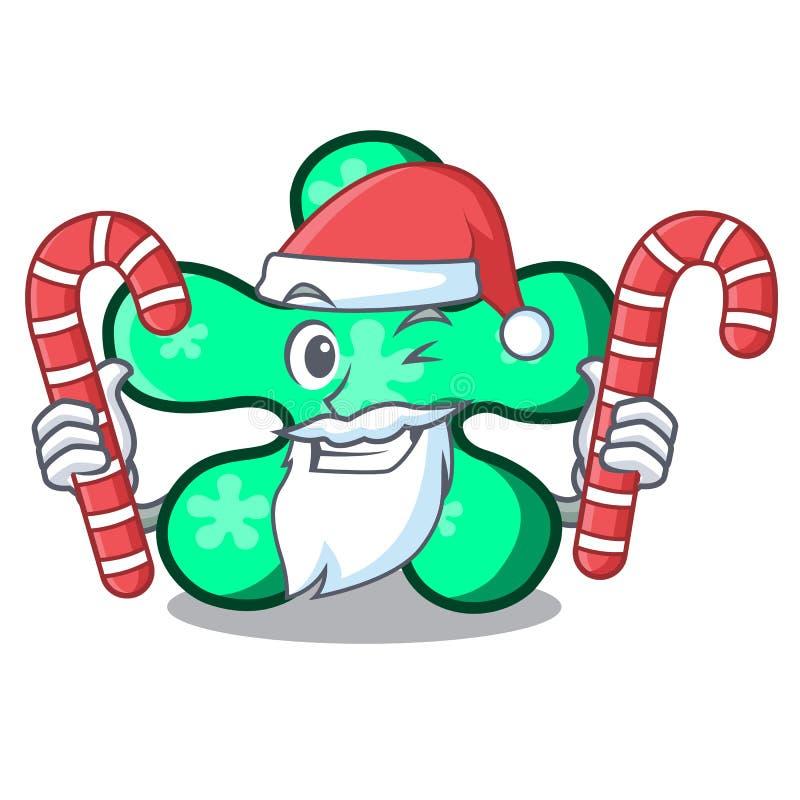 Kerstman met de mascottebeeldverhaal van de suikergoed vrij vorm stock illustratie