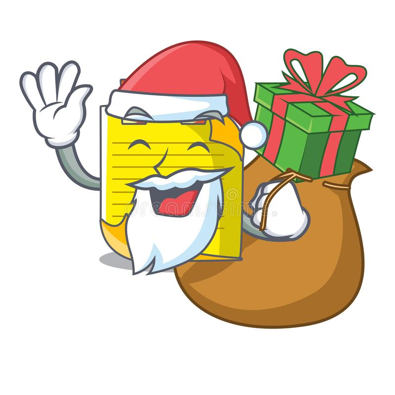 Kerstman met de notadocument van de giftmascotte met referentie stock illustratie