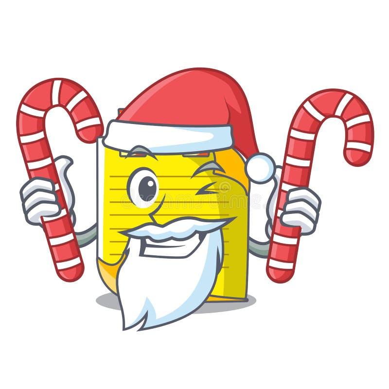 Kerstman met de notadocument van de suikergoedmascotte met referentie royalty-vrije illustratie