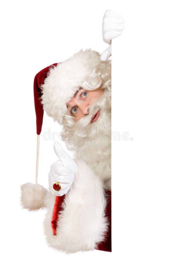 Kerstman met duim op banner