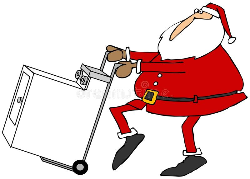 Kerstman met een nieuwe klerendroger stock illustratie