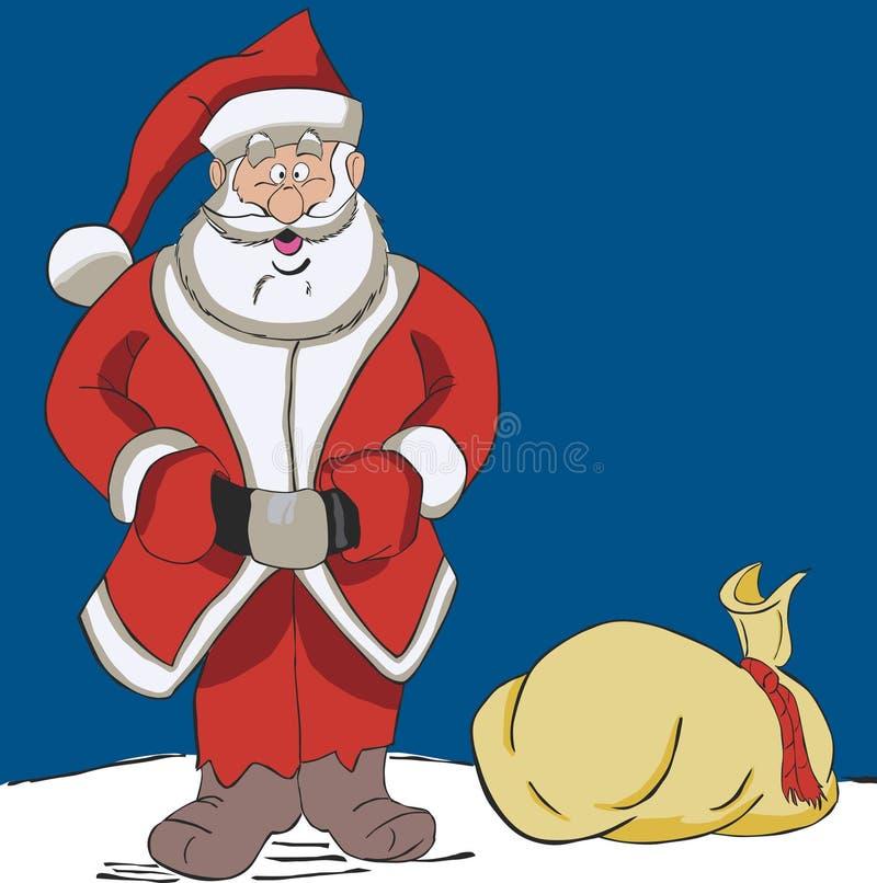 Kerstman met een zak royalty-vrije stock afbeelding