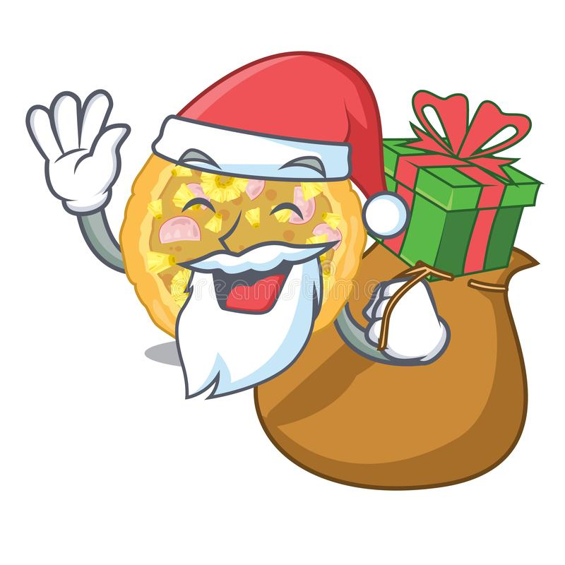 Kerstman met gift Hawaiiaanse pizza boven houten beeldverhaallijst vector illustratie