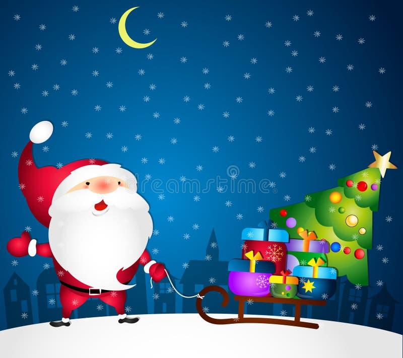 Kerstman met giften royalty-vrije illustratie