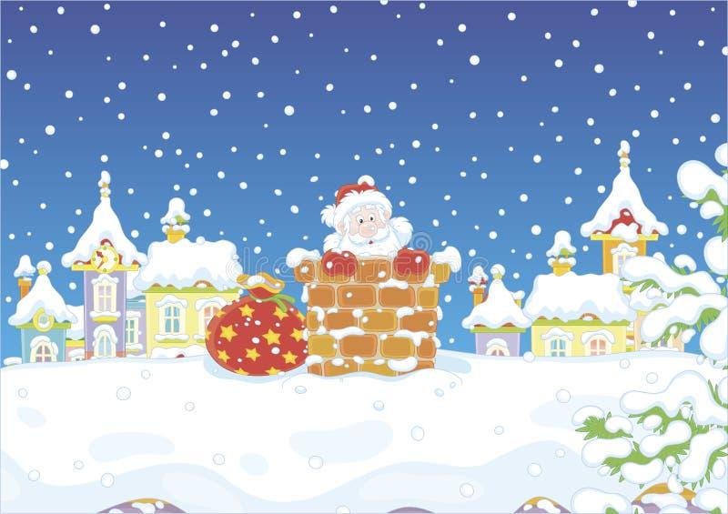 Kerstman met giften in een schoorsteen royalty-vrije illustratie