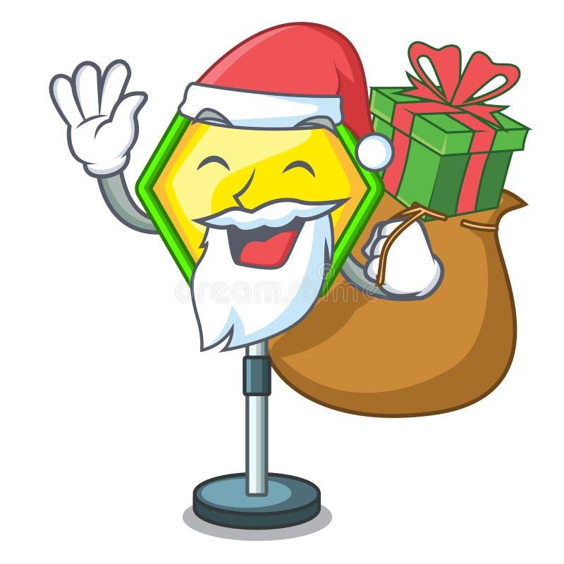 Kerstman met giftverkeersteken op de mascotte worden geïsoleerd die vector illustratie