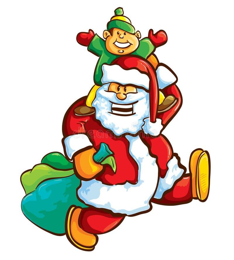 Kerstman met jongen royalty-vrije illustratie