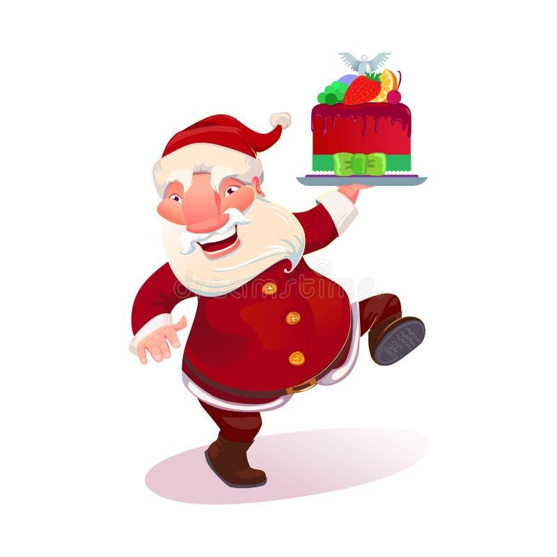 Kerstman met Kerstmiscake stock illustratie