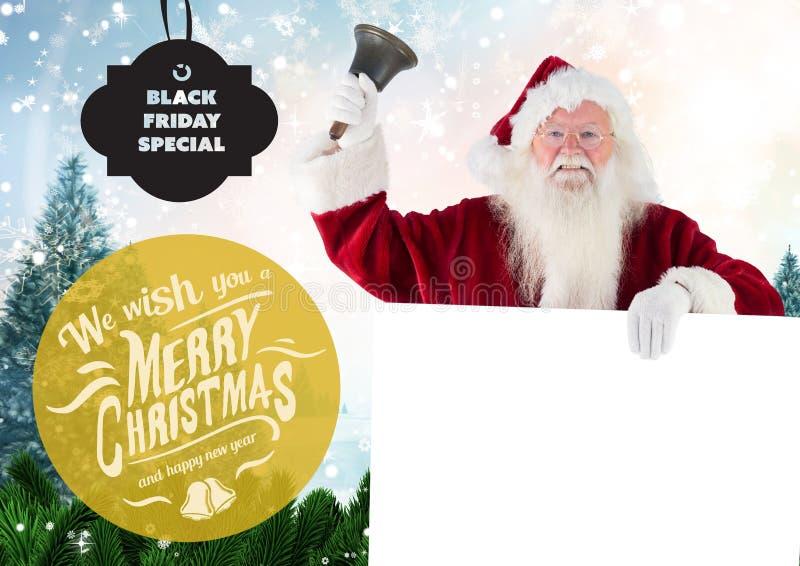 Kerstman met Kerstmisklok en groeten royalty-vrije stock afbeelding