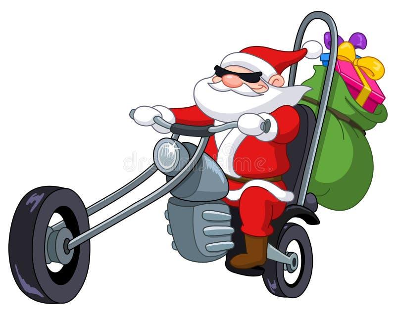 Kerstman met motorfiets royalty-vrije illustratie