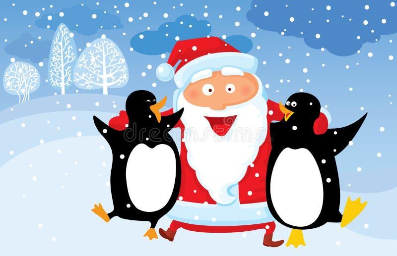Kerstman met pinguïn royalty-vrije illustratie