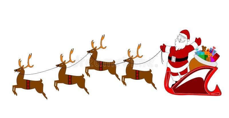 Kerstman met rendier over wit royalty-vrije illustratie
