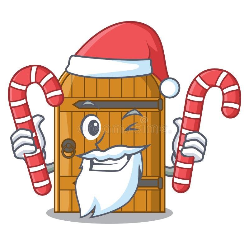 Kerstman met suikergoed uitstekende houten deur op mascottebeeldverhaal vector illustratie