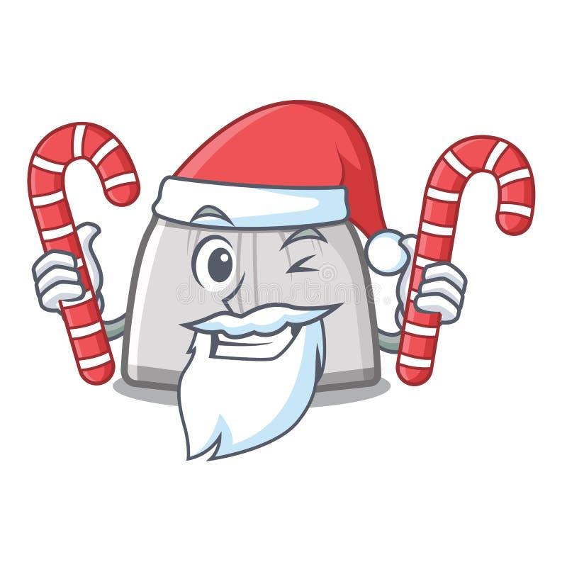 Kerstman met suikergoed zwemmende boomstam in de beeldverhaalkast stock illustratie