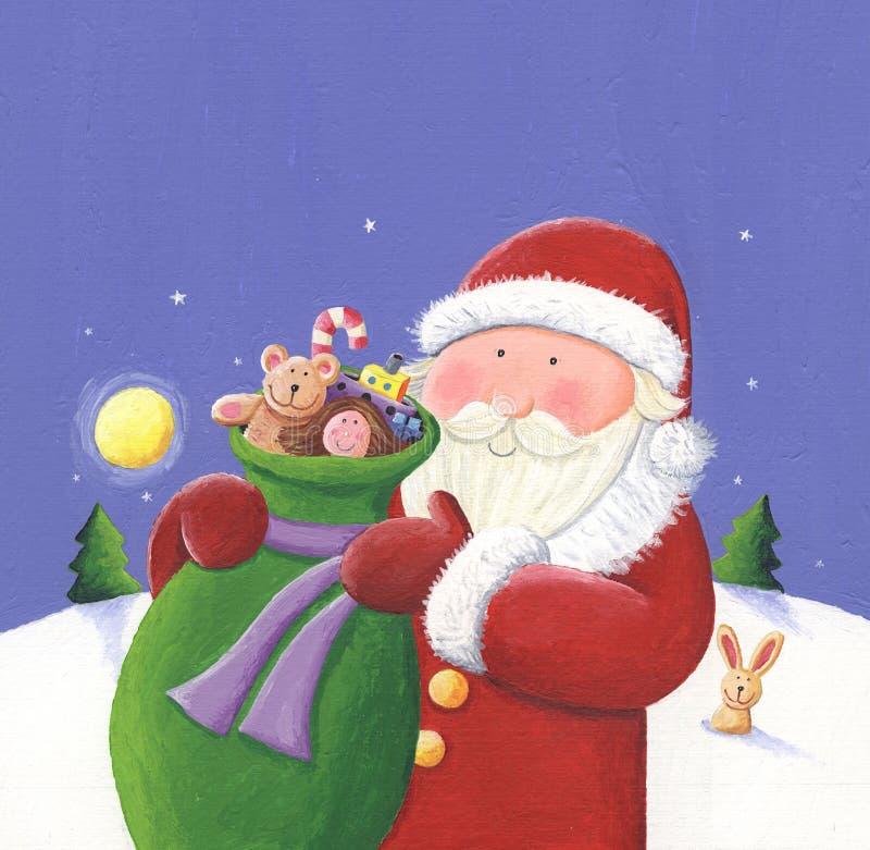 Kerstman met zak royalty-vrije illustratie