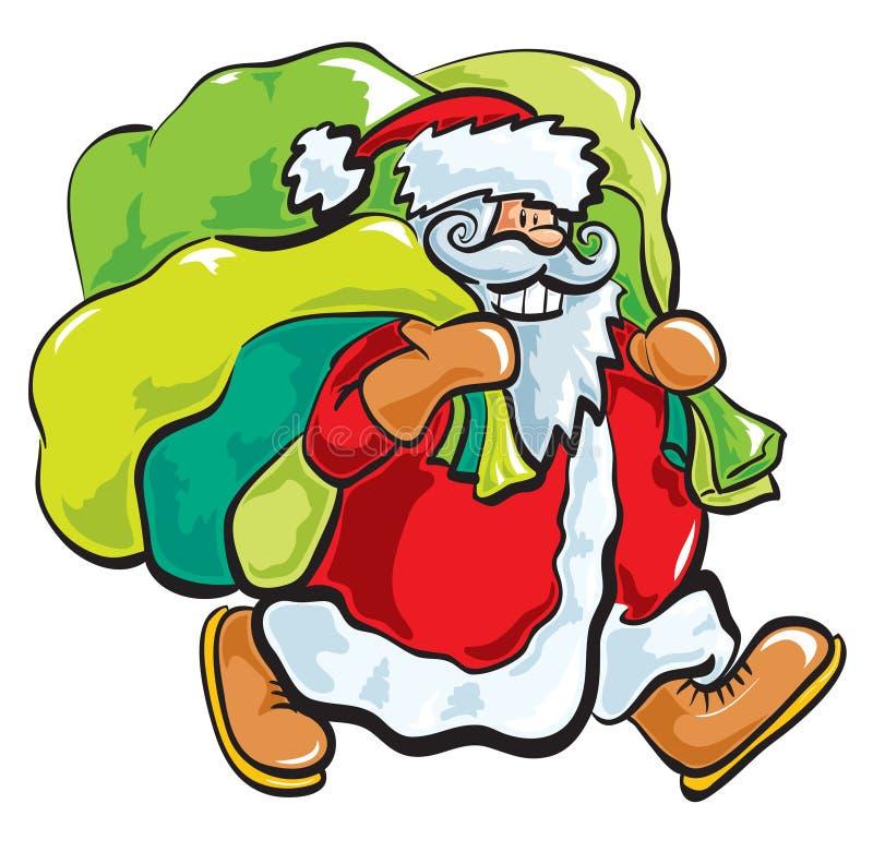 Kerstman met zakken stock illustratie