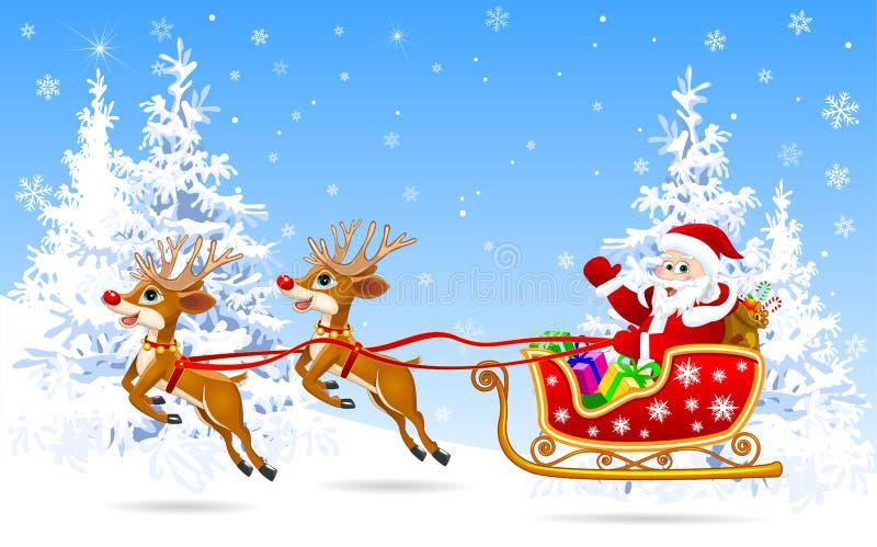 Kerstman op ar met herten 1 stock illustratie