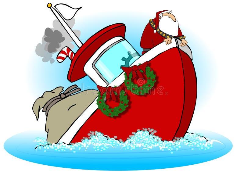 Kerstman op een Dalende Boot royalty-vrije illustratie