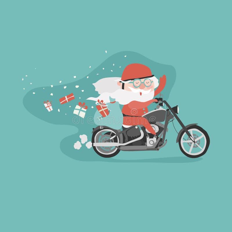 Kerstman op een motorfiets vector illustratie