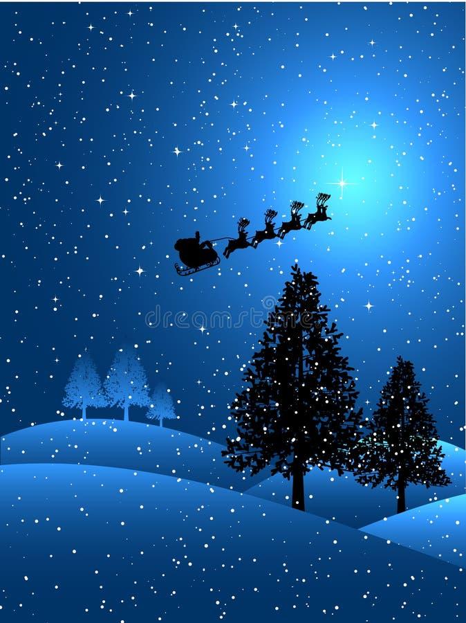 Kerstman op een sneeuwnacht royalty-vrije illustratie