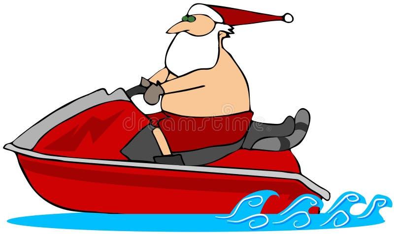 Kerstman op een Waverunner stock illustratie