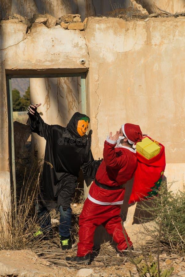 Kerstman in probleem royalty-vrije stock fotografie