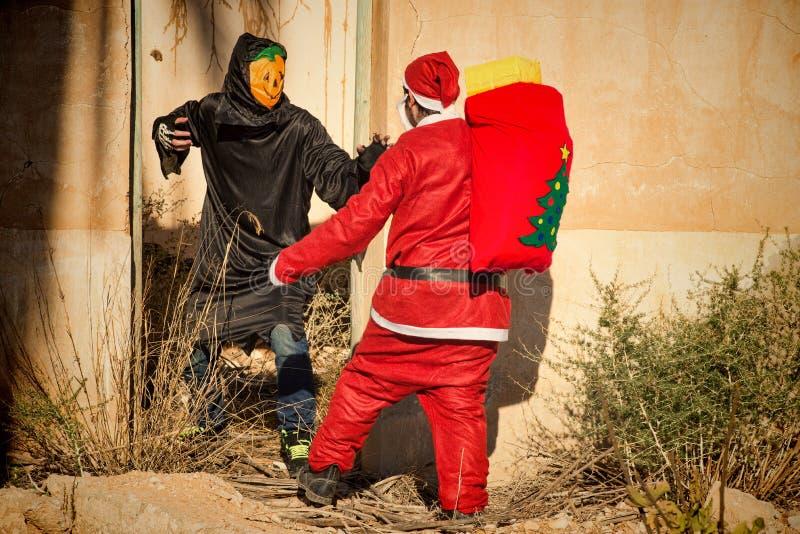 Kerstman in probleem royalty-vrije stock afbeelding