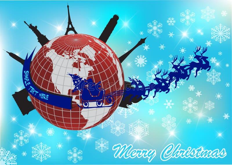Kerstman rond de wereld stock illustratie