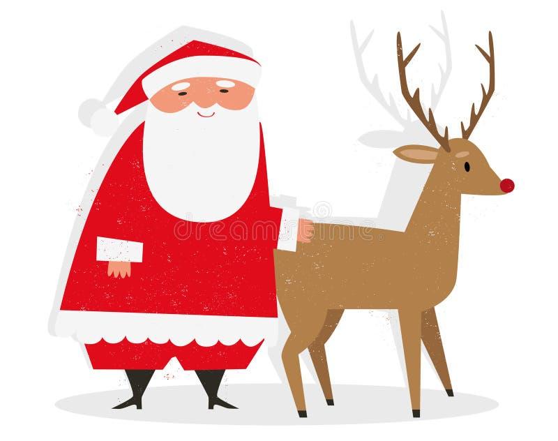 Kerstman & Rudolph stock illustratie