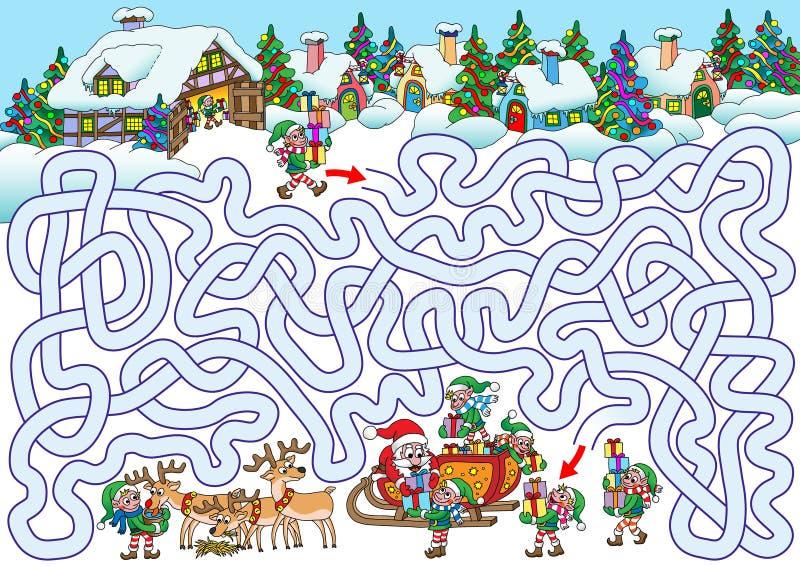 Kerstman` s Dorp stock illustratie