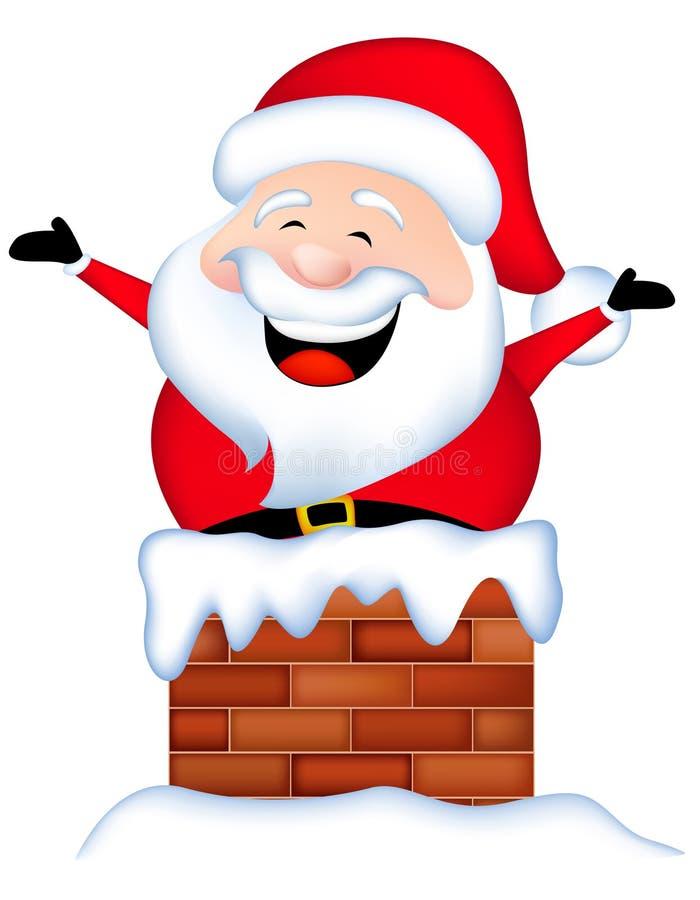 Kerstman in schoorsteen wordt geplakt die vector illustratie