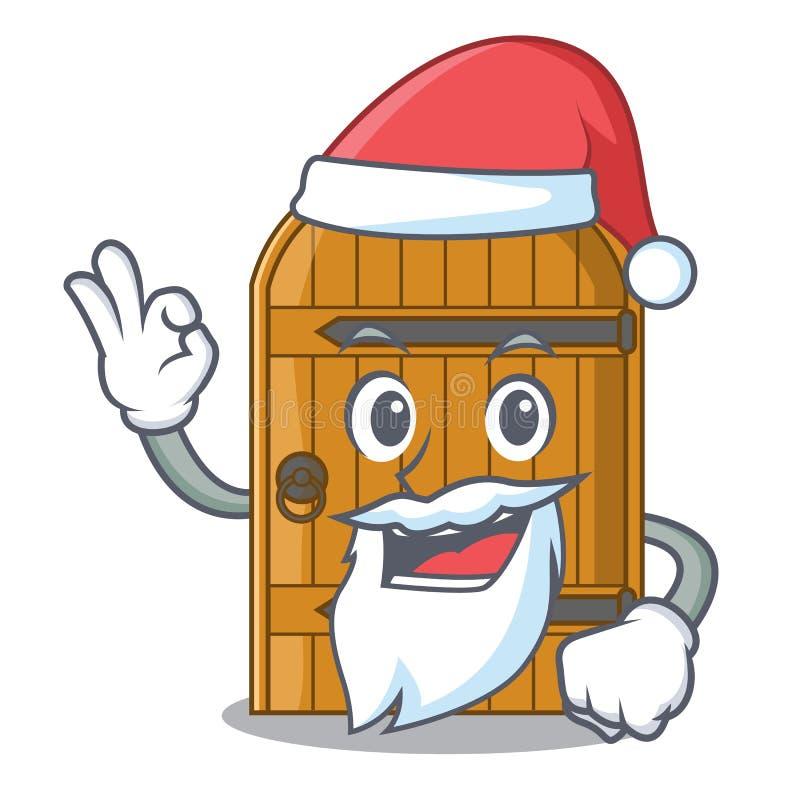 Kerstman uitstekende houten deur op mascottebeeldverhaal stock illustratie