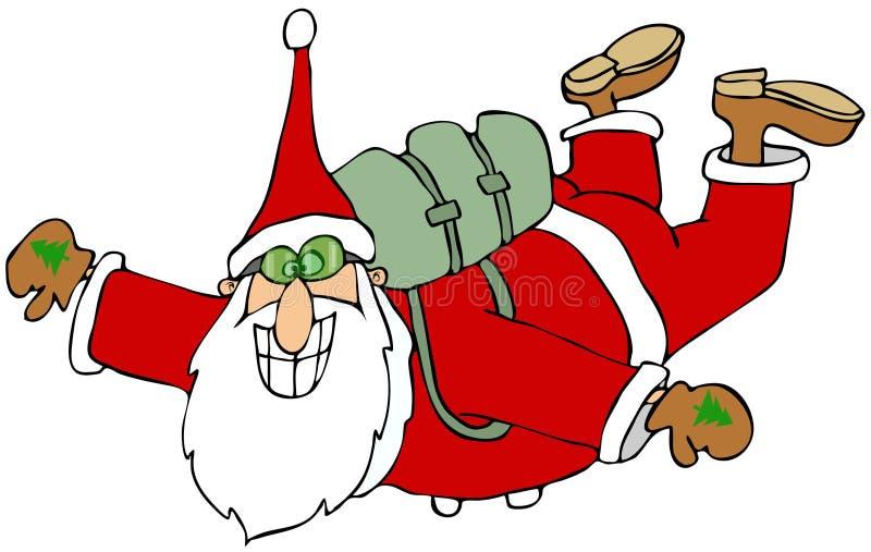 Kerstman in vrije daling vector illustratie