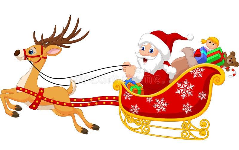 Kerstman in zijn Kerstmisslee die door rendier wordt getrokken vector illustratie