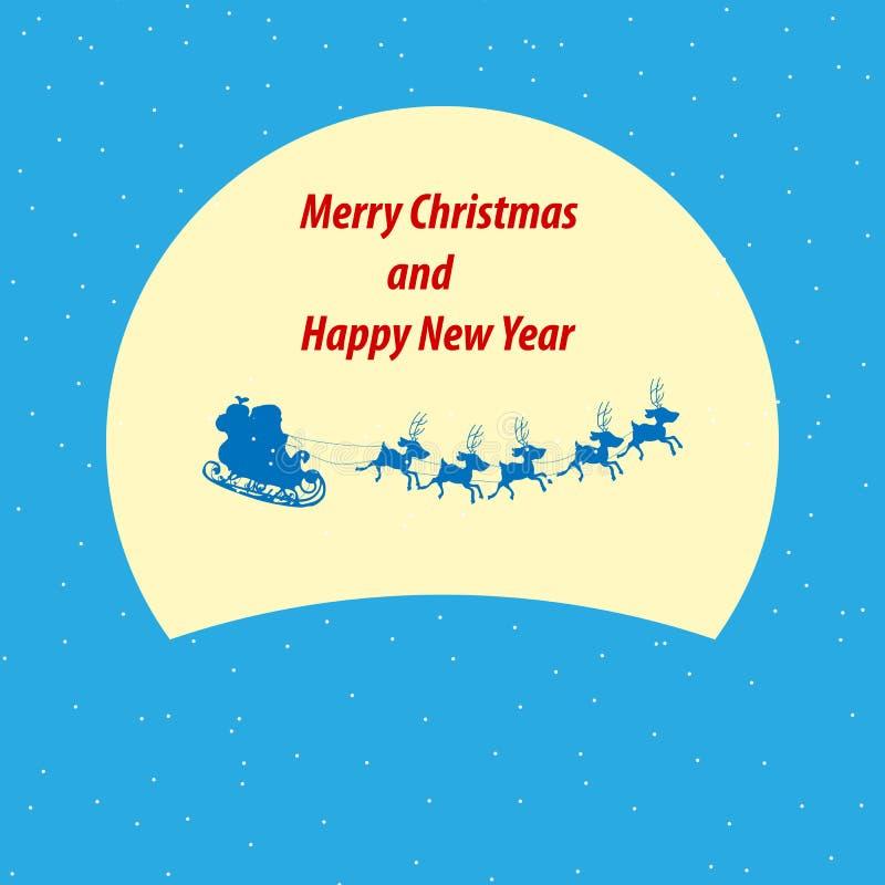 Kerstmanar die in de nacht van de winterkerstmis met tekst vliegen vector illustratie