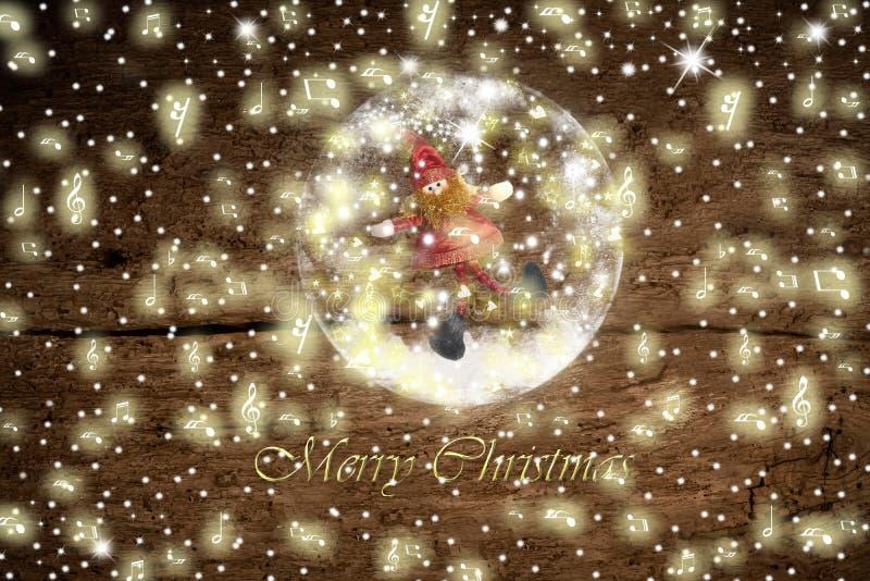 Kerstmanelf in een glassneeuwbal, Kerstkaart royalty-vrije stock foto