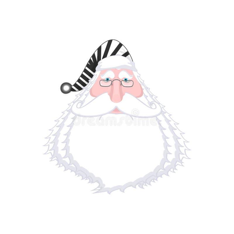 Kerstmangezicht in gestreepte robe Gearresteerd Slecht Claus Opafoto PR royalty-vrije illustratie