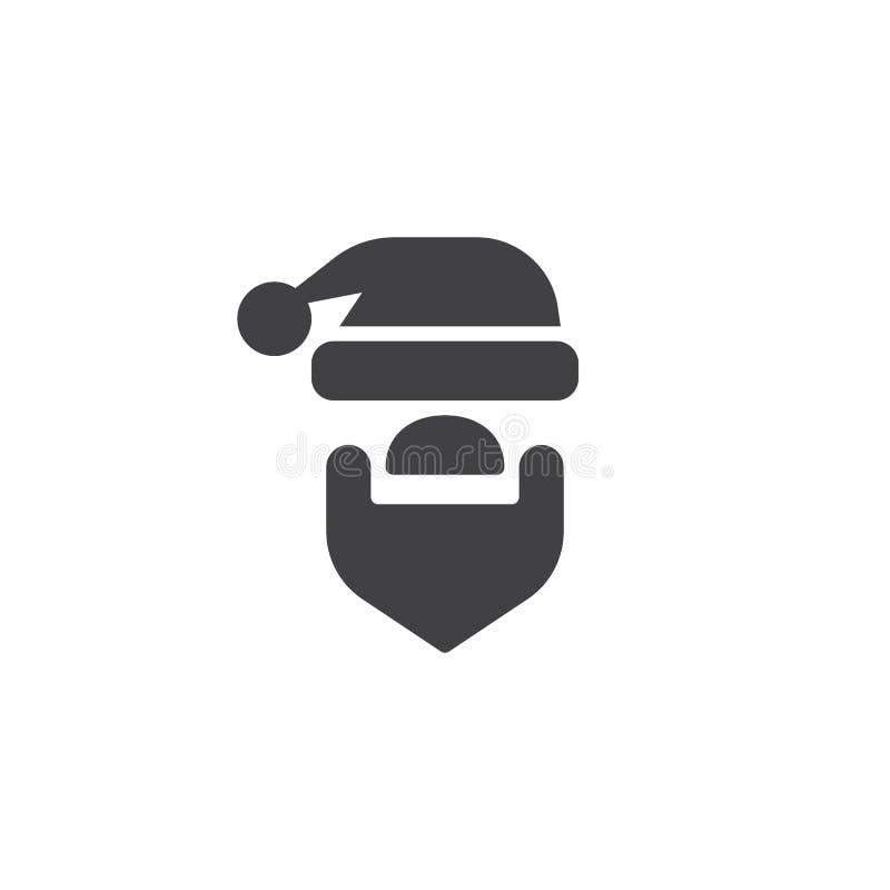 Kerstmanhoed en baard vectorpictogram vector illustratie