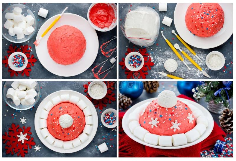 Kerstmanhoed of van de de winterhoed de voorbereidingscollage van de Kerstmiscake nieuw stock foto